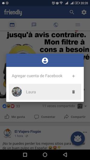 friendly dos cuentas de facebook