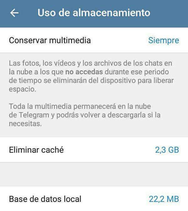 almacenamiento Telegram