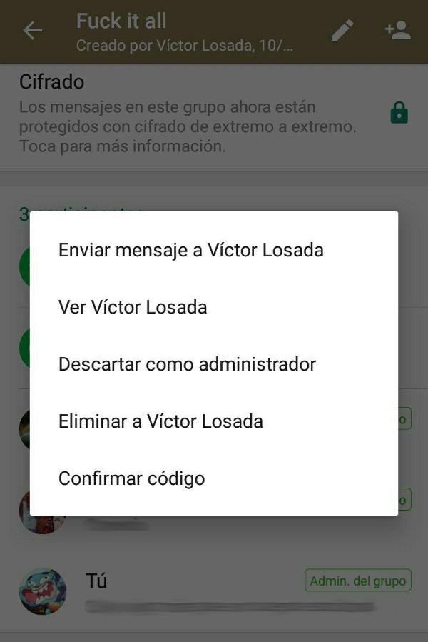 Cómo retirar o quitar privilegio de administrador en WhatsApp