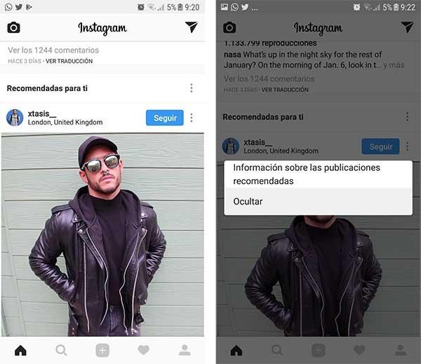 borrar recomendaciones de Instagram