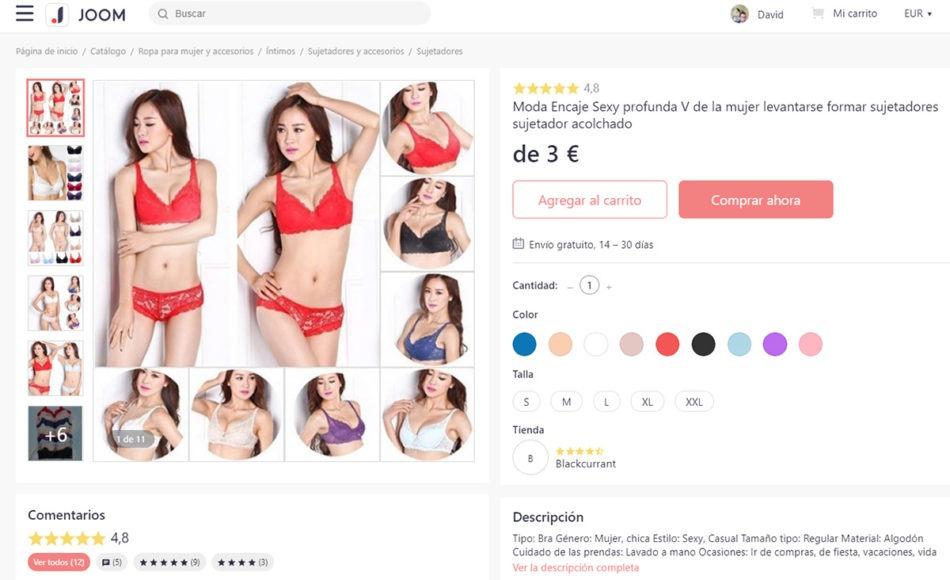 Todas las categorías de ropa disponibles en Joom