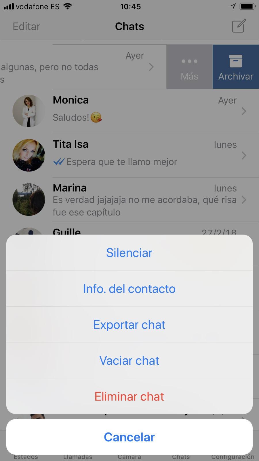 WhatsApp ordenado