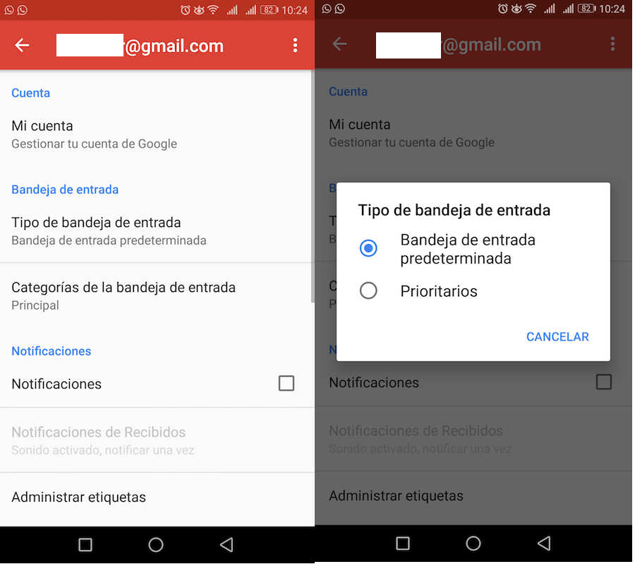 gmail bandejas email