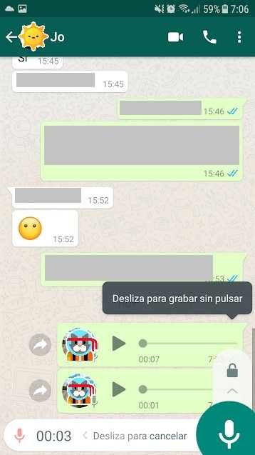 whatsapp grabaciones