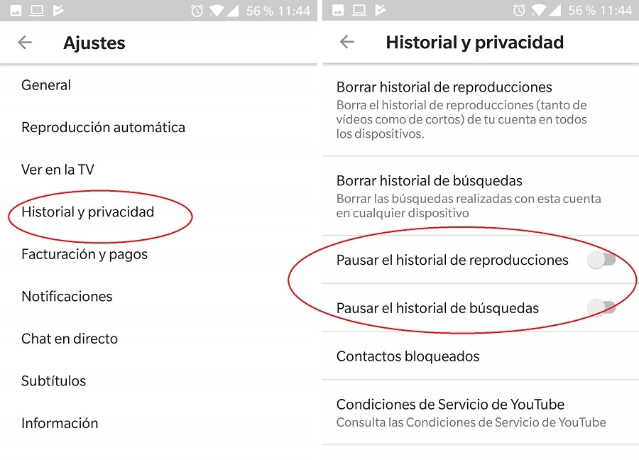 historial youtube