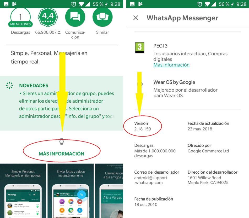 numero de version whatsapp