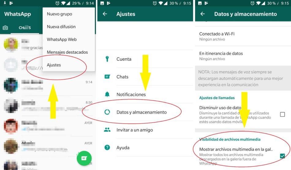 whatsapp mostrar archivos multimedia