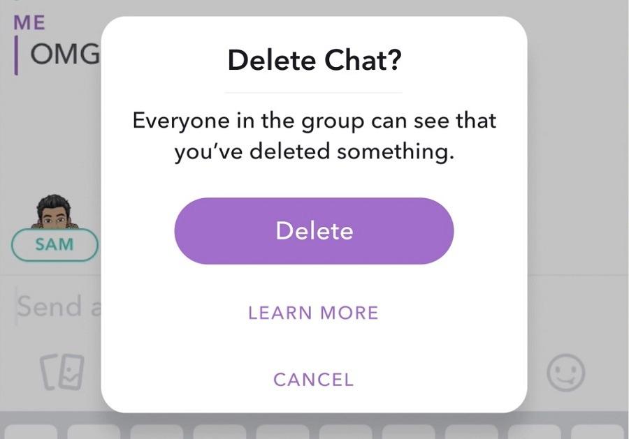 delete chat snapchat