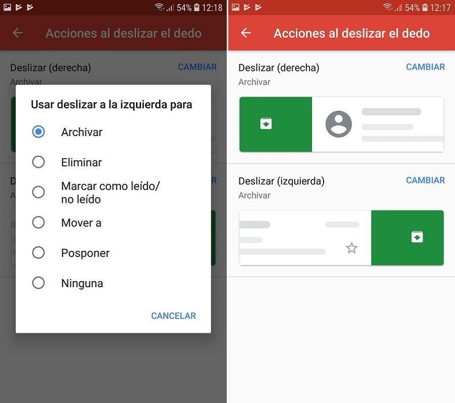 deslizar gmail acciones