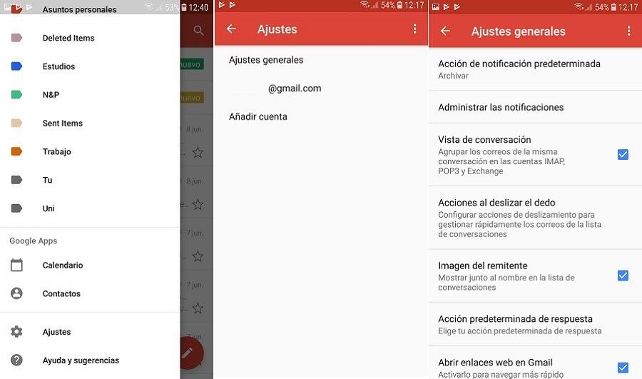 deslizar acciones gmail