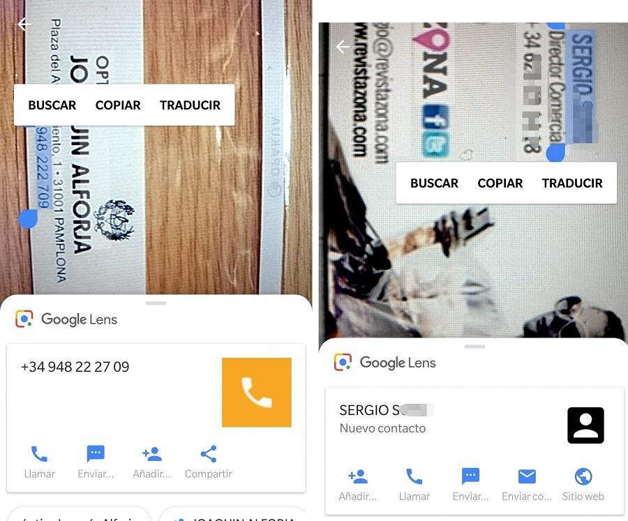 google lens contactos