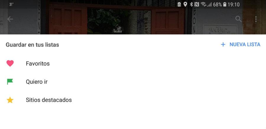 Selecciona la lista de Google Maps que deseas
