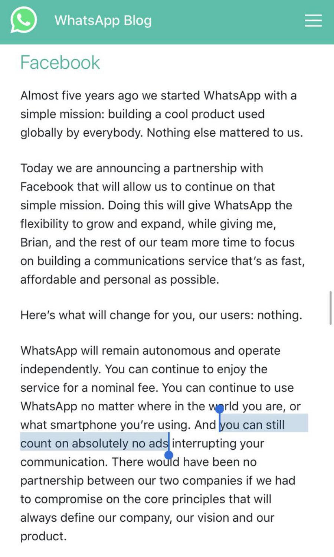 condicones whatsapp