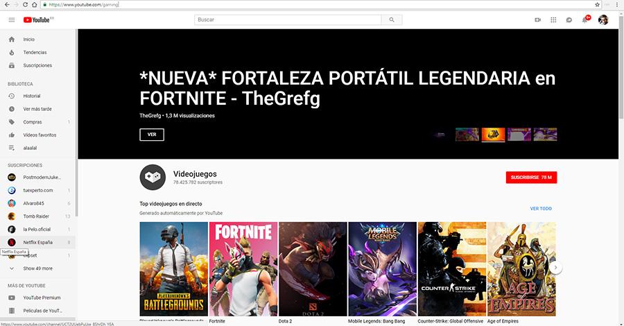 youtube gaming España