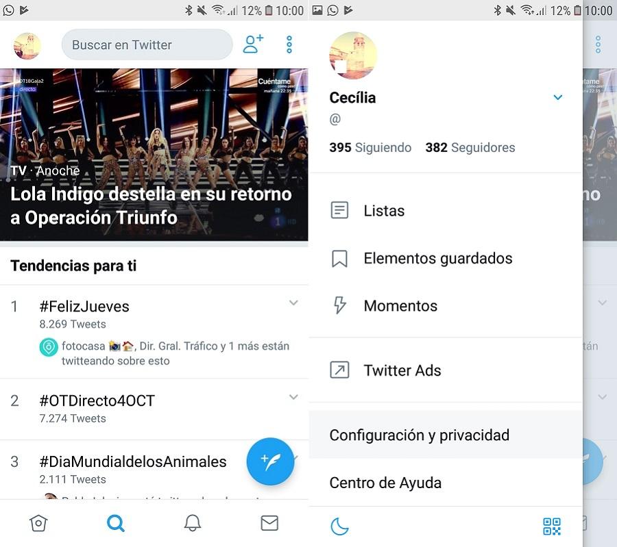 Twitter configuración