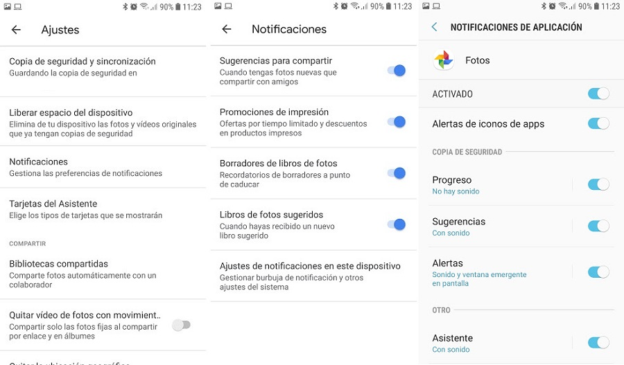 google fotos notificaciones