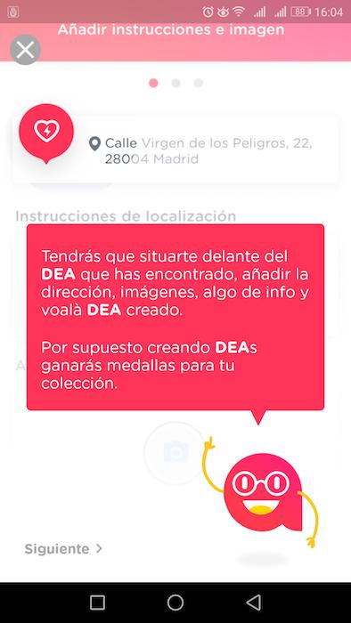 ariadna app añadir desfibrilador