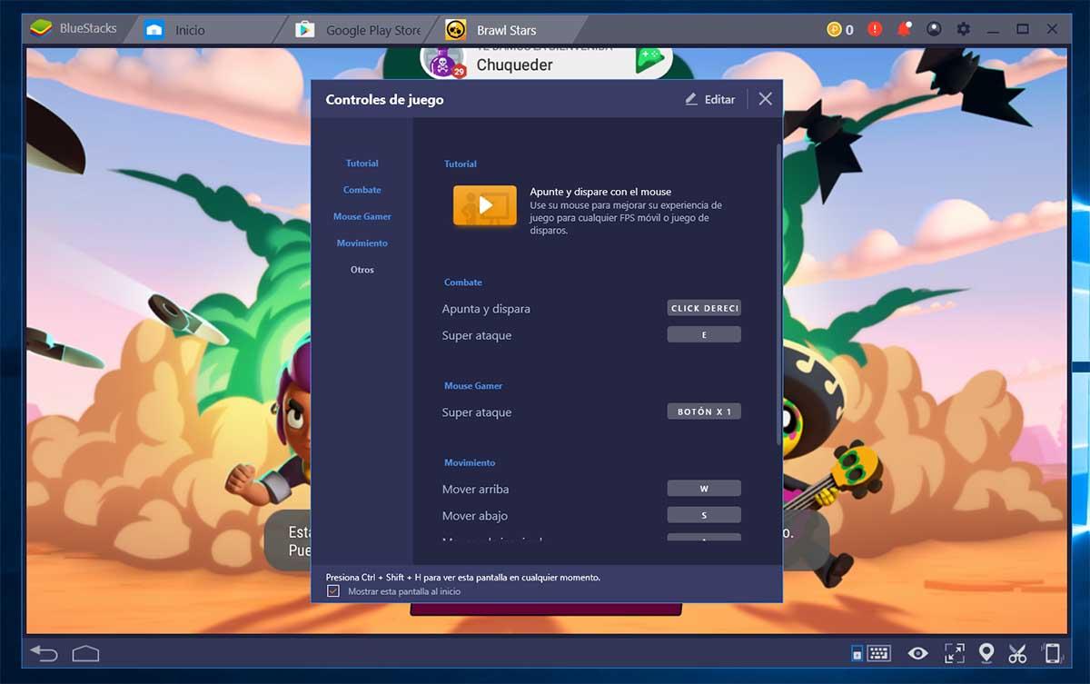 controles Brawl Stars en PC