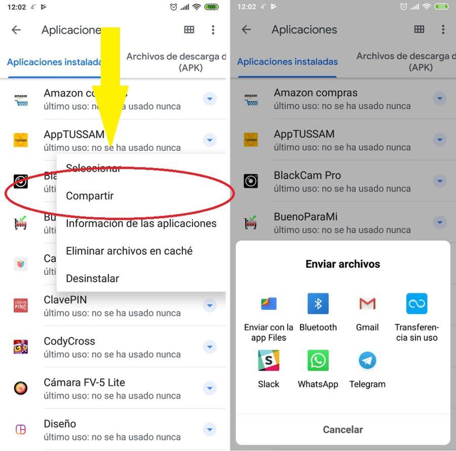 compartir apk files google