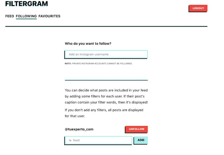 filtergram seguir usuarios