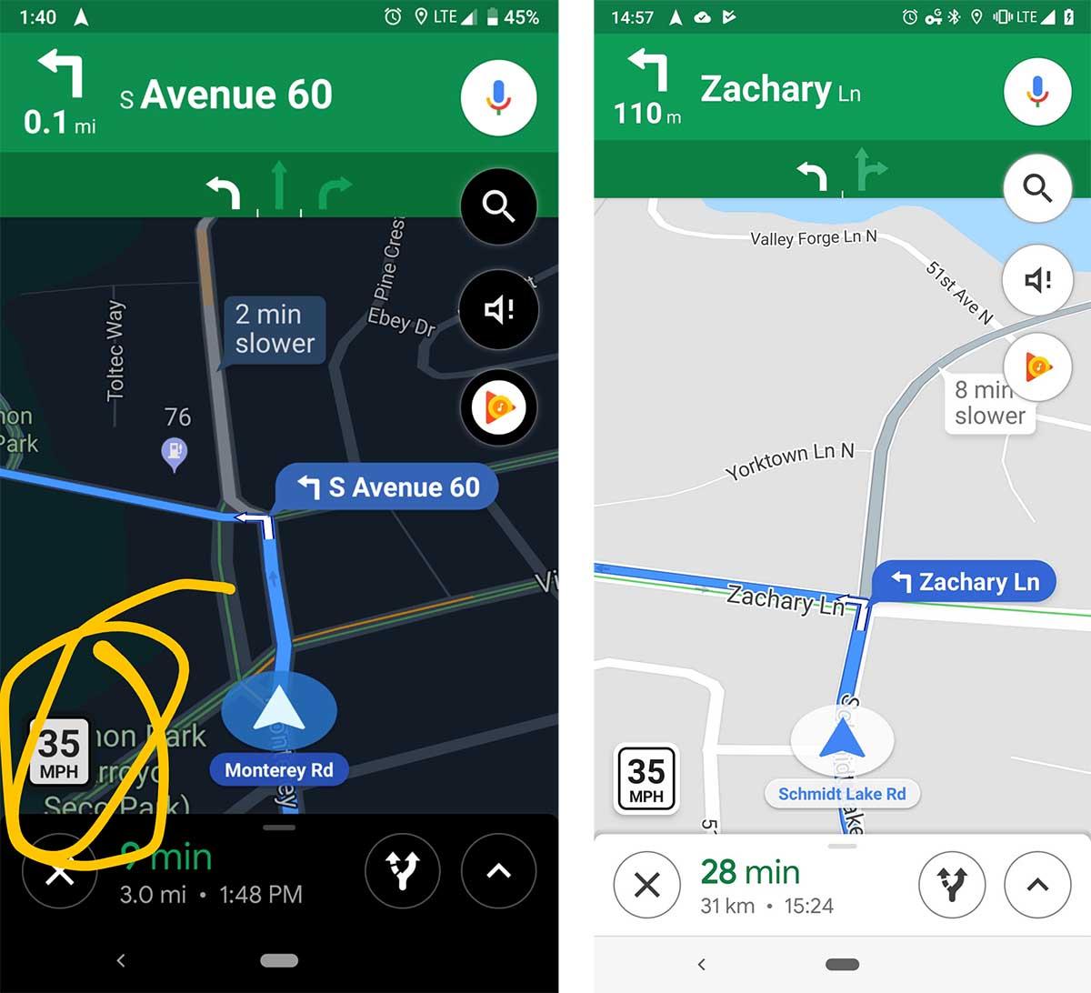 google maps con límites de velocidad