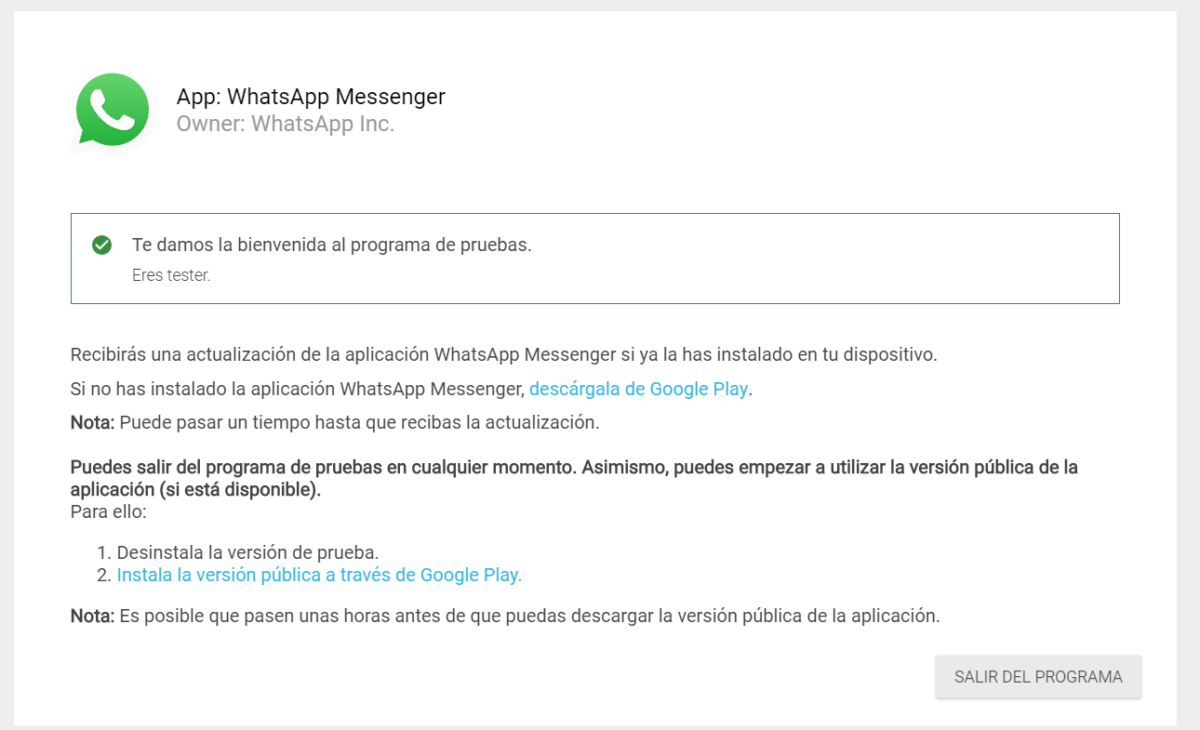 betatester whatsapp