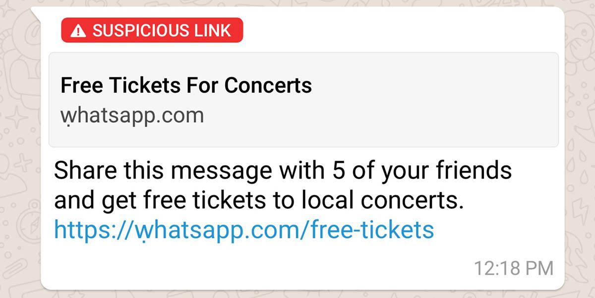 WhatsApp detecta el envío de links de tipo malicioso