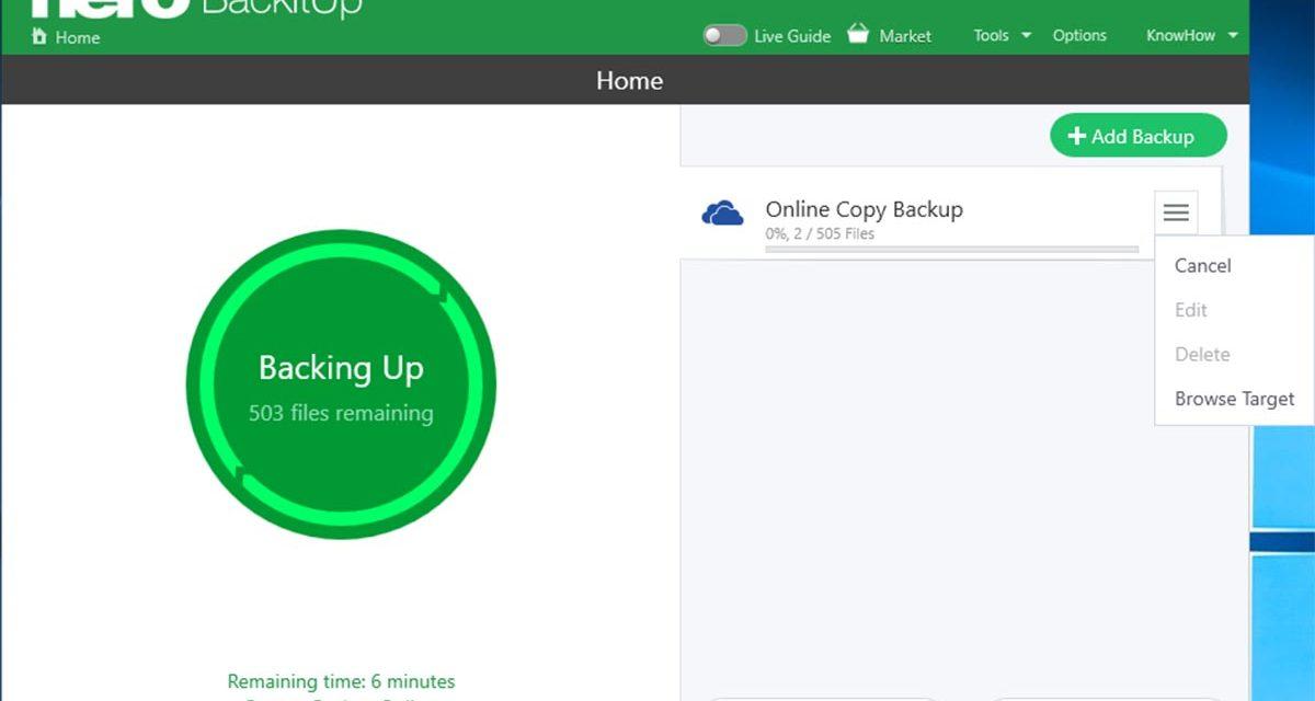 Cómo guardar una copia de seguridad en la nube con Nero BackItUp 2019