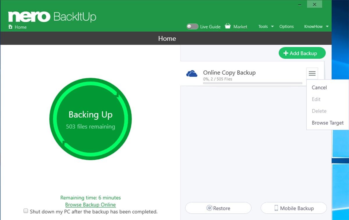 Cómo guardar una copia de seguridad en la nube con Nero BackItUp