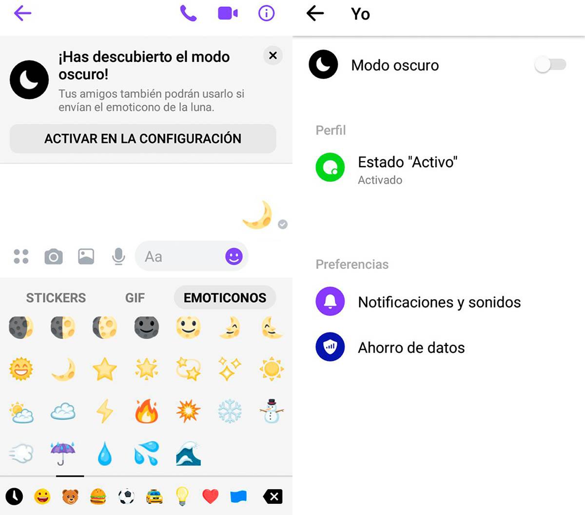 Cómo se activa el modo oscuro en Messenger