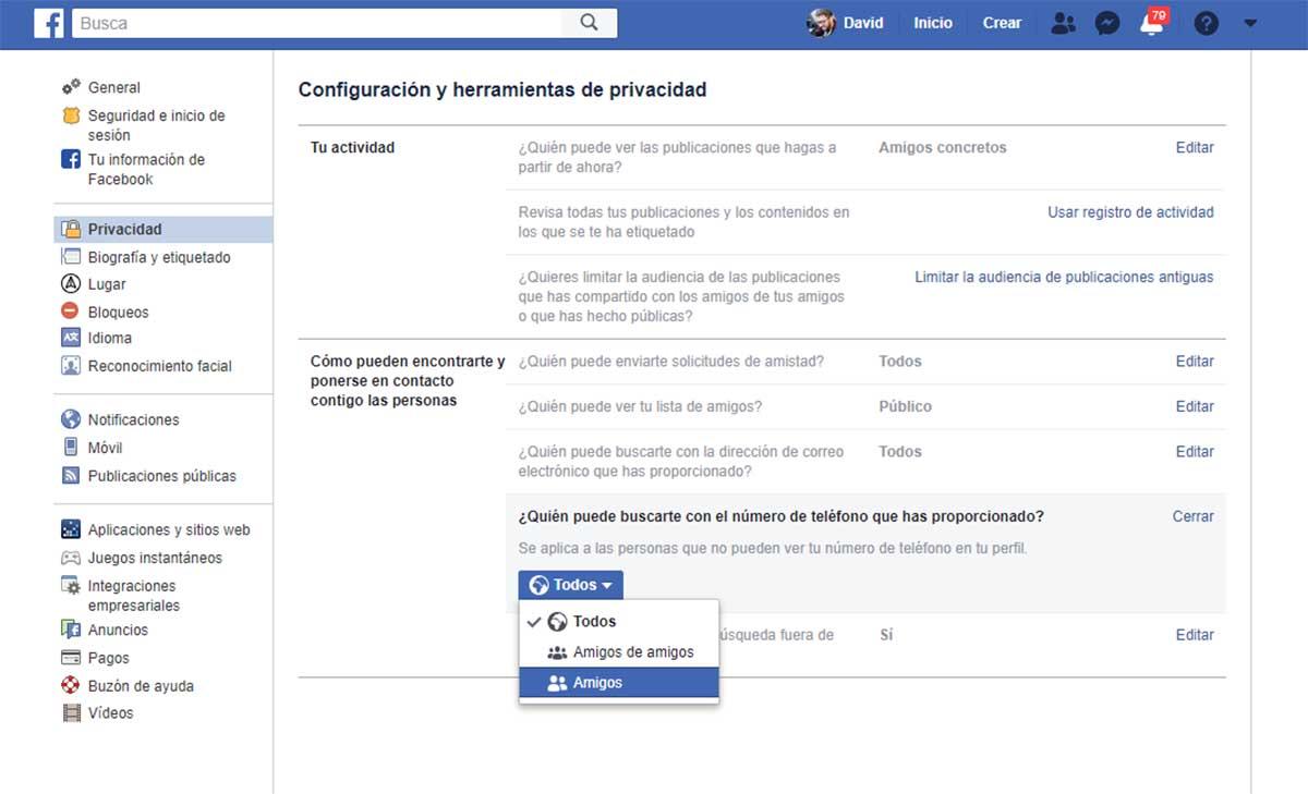 doble factor de autenticación de Facebook