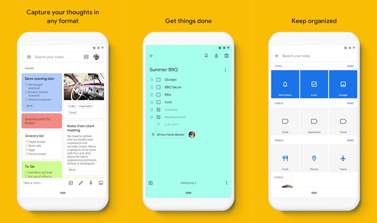 La aplicación Google Keep para crear notas