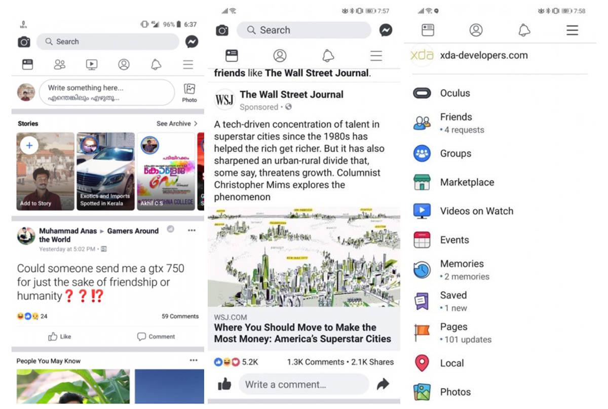 Nuevo diseño blanco de Facebook en Android