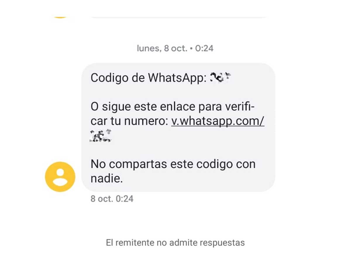 código de verificación de whatsapp