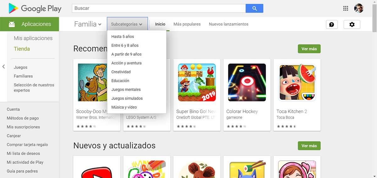 Google Play Store niños