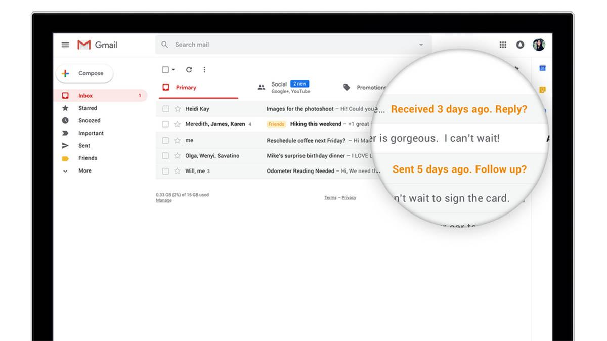 Los archivos adjuntos estan mas visibles en Gmail
