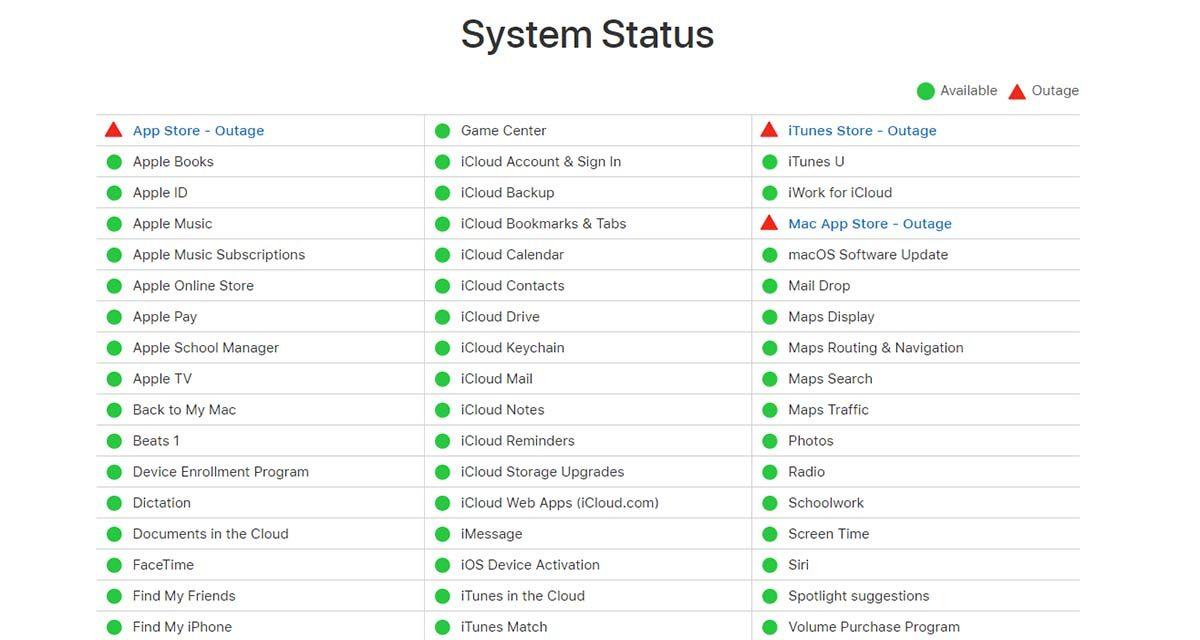 La App Store y otros servicios de Apple dejan de funcionar temporalmente