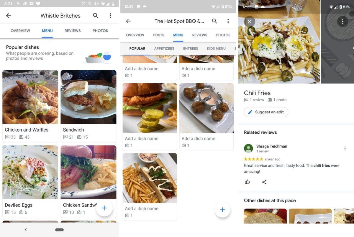 google maps menus restaurante