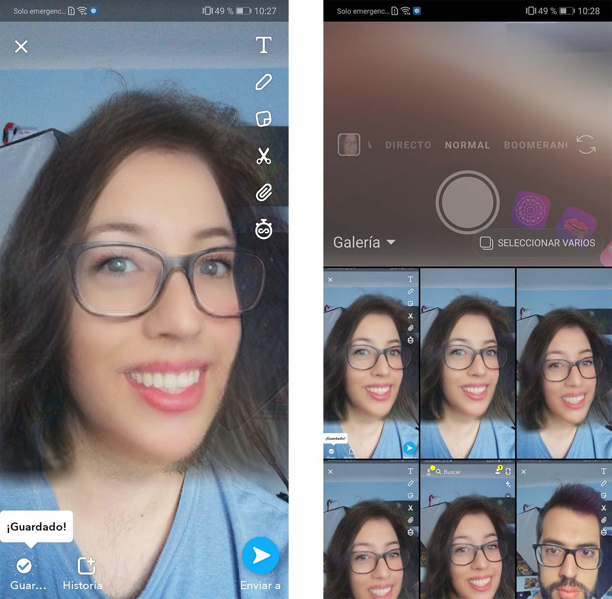 compartir filtros de snapchat