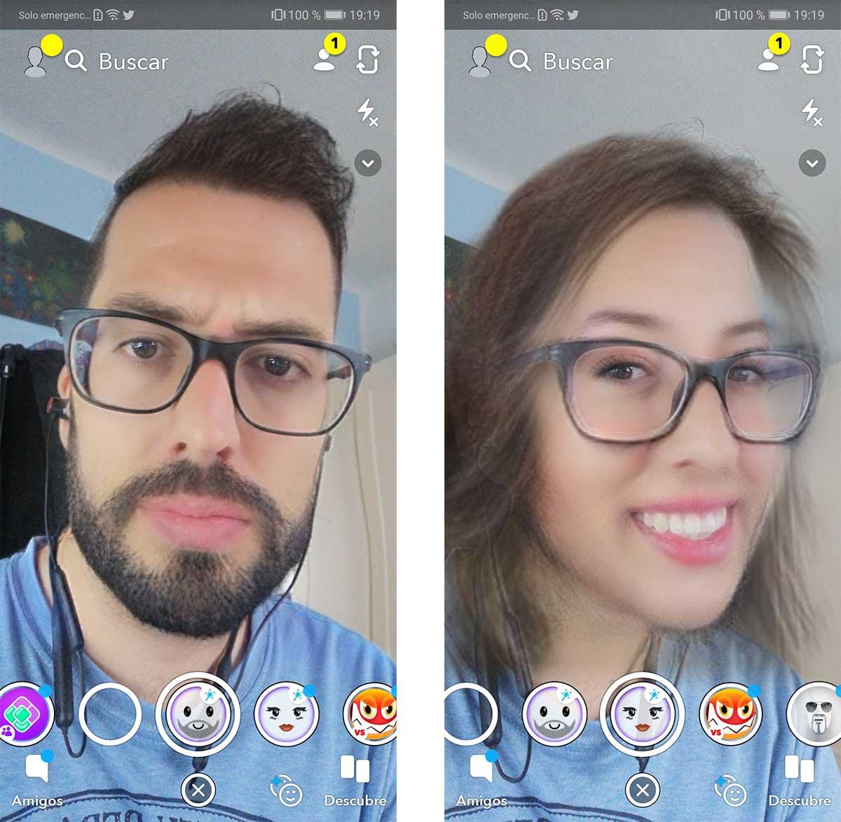 máscara de mujer de Snapchat