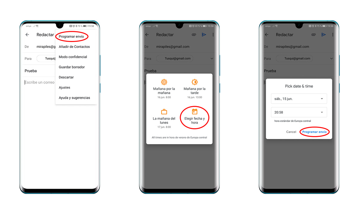 cómo programar correos electrónicos en Gmail con la app