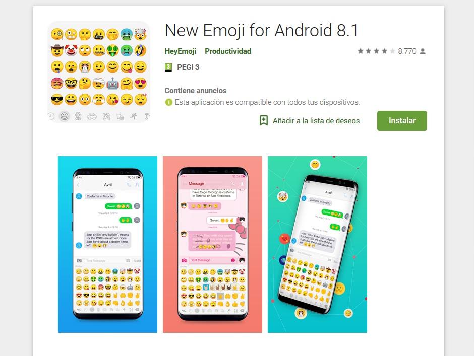 New Emoji para Android 8.1