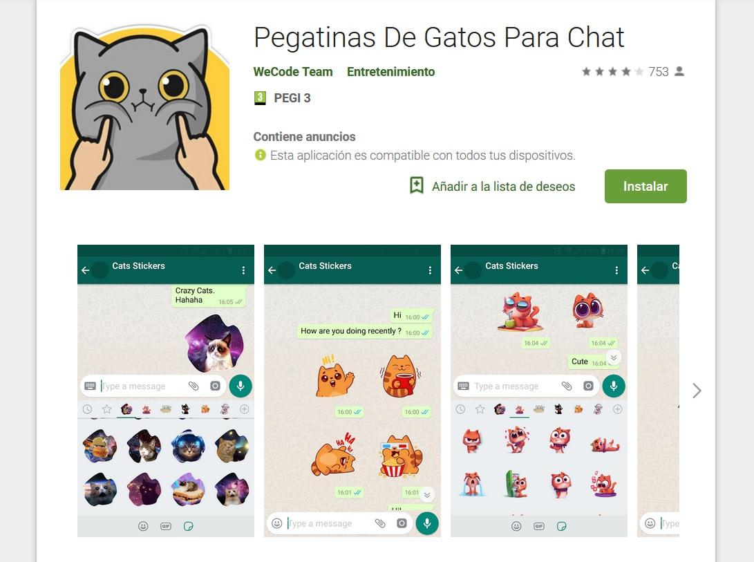 Pegatinas de gatos para WhatsApp