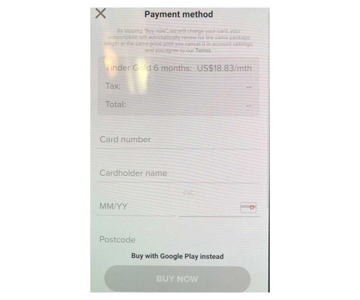 tinder pago fuera de Google Play Store