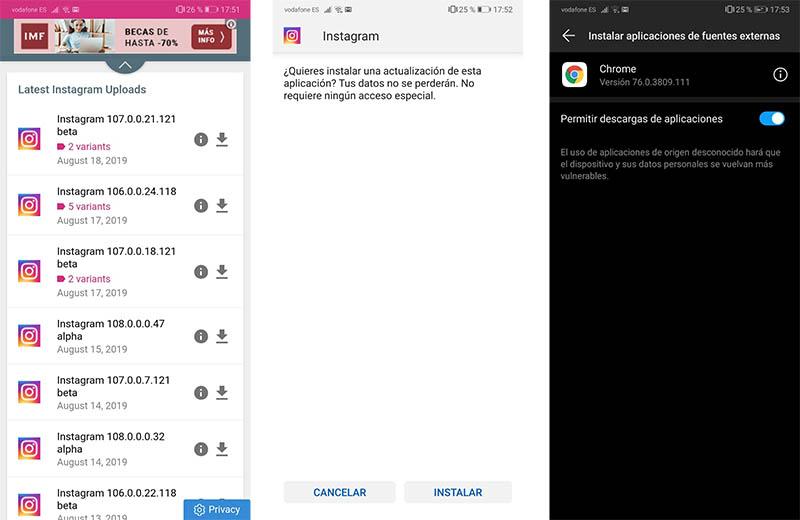 pantalla en blanco en Instagranm