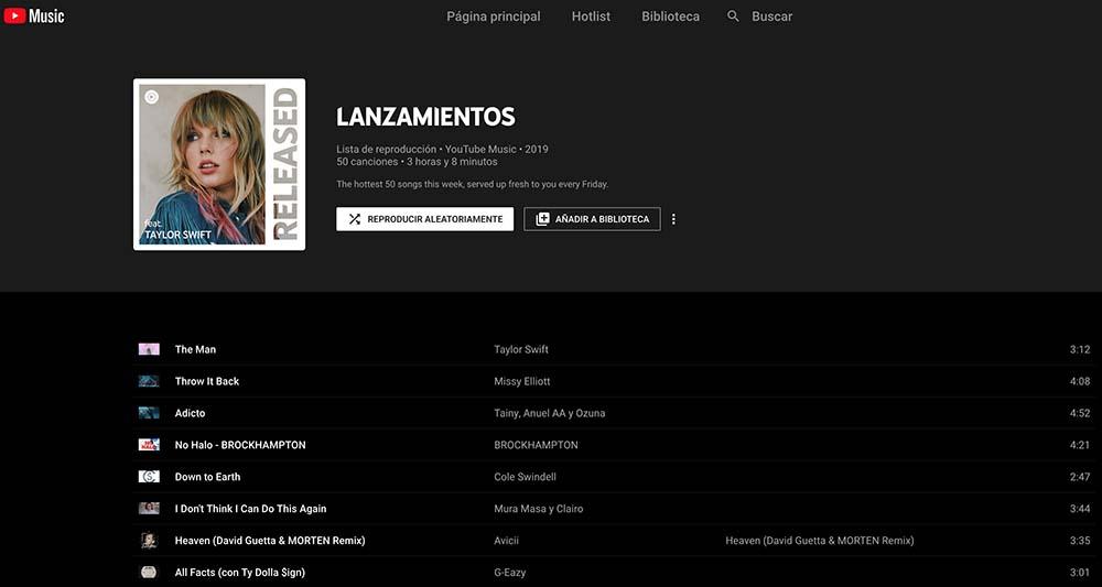 YouTube Music Lanzamientos