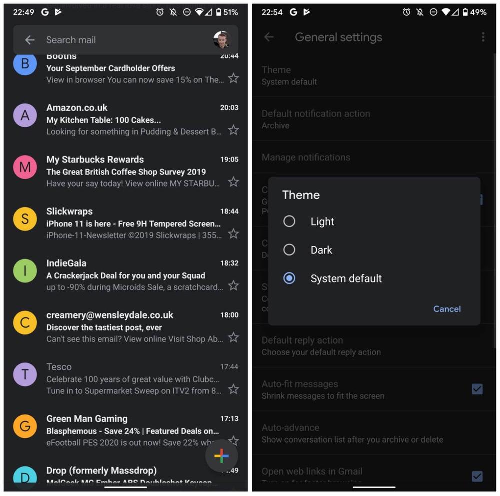 Descarga está versión de Gmail para disfrutar del modo oscuro en Android