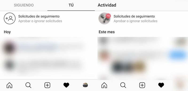 Cómo recuperar la pestaña Seguidos de Instagram