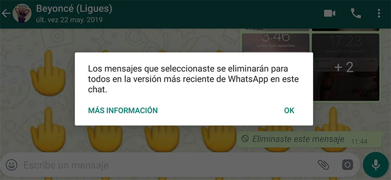 Eliminar para todos en WhatsAppºº