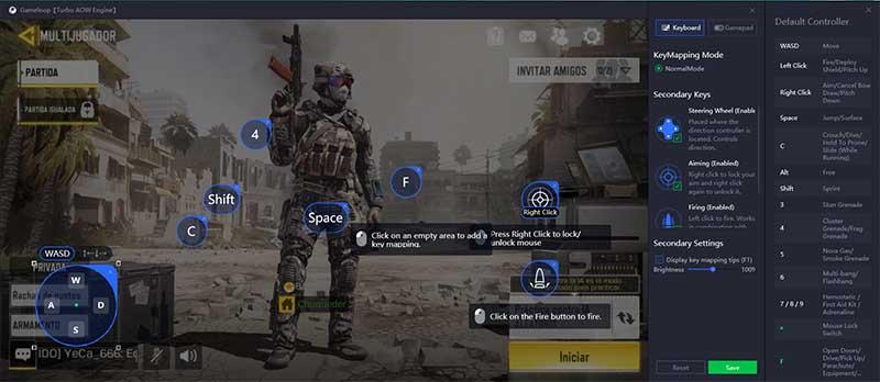 Call of Duty con ratón y teclado